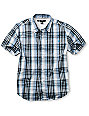 Volcom Boys X-Factor White & Blue Woven Shirt