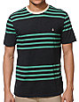 Volcom Circle Square Black & Mint Stripe T-Shirt