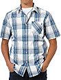Volcom Ex Factor Blue & Green Plaid Button Up Shirt