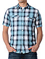 Volcom Fallen Light Blue Plaid Short Sleeve Woven Shirt