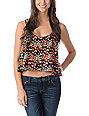 Volcom Hey Poppy Black & Coral Crop Tank Top