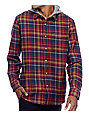 Volcom La Palma Navy & Red Hooded Flannel Shirt