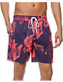 Volcom More Mental Fun Pink & Purple 17 Board Shorts