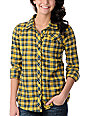 Volcom Nova Cane Yellow Plaid Long Sleeve Button Up