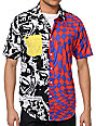 Volcom Paradigum Red, Black & White Short Sleeve Button Up Shirt