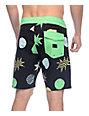 "Volcom Polka Stoney Black & Green 18"" Board Shorts"