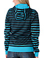 Volcom Saddle Stripe Black & Turquoise Tech Fleece Hydro Jacket