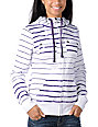 Volcom Saddle White & Purple Stripe Tech Fleece Jacket
