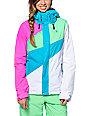 Volcom Slogan Teal, Pink & White 10K Snowboard Jacket