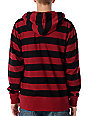 Zine Baseline Red & Black Stripe Zip Up Hoodie