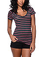 Zine Beta Charcoal & Pink Stripe Slub V-Neck T-Shirt