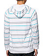 Zine Blake White & Green Stripe Hooded Henley Shirt