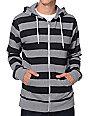 Zine Busted Grey & Black Stripe Zip Up Hoodie