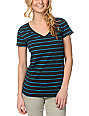 Zine Charcoal & Hawaiian Striped V-Neck T-Shirt