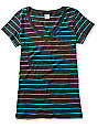 Zine Charcoal & Hawaiian Striped V-Neck T-Shirt
