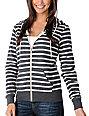 Zine Charcoal & White Stripe Zip Up Hoodie