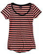 Zine Coral & Charcoal Stripe Scoop Neck T-Shirt