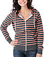 Zine Coral & Charcoal Stripe Zip Up Hoodie