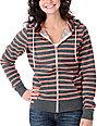 Zine Coral & Charcoal Stripe Zip Up Hoodie