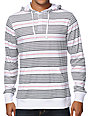Zine Highstripe Grey & White Long Sleeve Hooded Henley Shirt