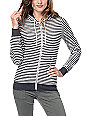 Zine Matilda Grey & White Stripe Zip Up Hoodie