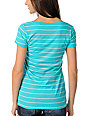 Zine Pastel Blue Striped V-Neck Pocket T-Shirt