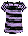 Zine Purple & Charcoal Stripe Scoop Neck T-Shirt