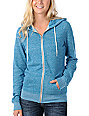 Zine Turquoise Salt & Pepper Zip Up Hoodie