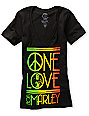 Zion Rootswear One Love Peace Black V-Neck T-Shirt