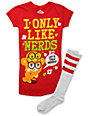 Zoodorable Saru Mo Only Nerds Red T-Shirt & Tube Socks