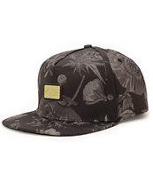 10 Deep Gold Standard Black Floral Strapback Hat