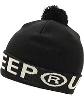 10 Deep Lower Third Black Pom Fold Beanie