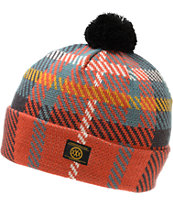 10 Deep McCloud Red Pom Fold Beanie