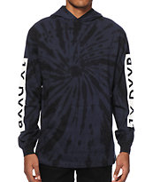 10 Deep Tie Dye Long Sleeve Hooded Shirt