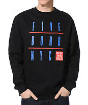 5BORO Grid Black Crew Neck Sweatshirt