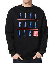 5BORO Grid Black Crew Neck Sweatshirt