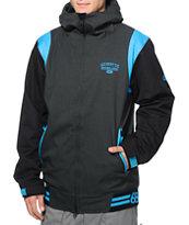 686 Mannual 8k Gun Metal & Blue Varsity Snowboard Jacket