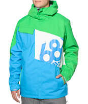 686 Mannual Iconic 8k Blue, Green & White 2014 Snowboard Jacket
