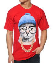 A-Lab Beanie Cat Red Tee Shirt