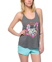 A-Lab Betty Laser Cat Charcoal Tank Top