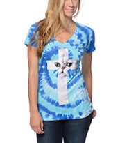A-Lab Cat Cross Blue Tie Dye  V-Neck Tee Shirt