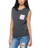 A-Lab Corinne Cat Pocket Charcoal Muscle T-Shirt