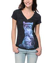 A-Lab Cosmic Cat Dark Charcoal V-Neck T-Shirt