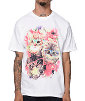 A-Lab Damn Cute White Floral Print Tee Shirt