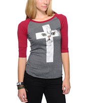 A-Lab Girls Cat Cross Charcoal & Red Baseball Tee Shirt