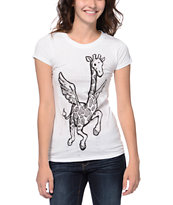 A-Lab Girls Flying Giraffe White UV Color Change Tee Shirt