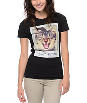A-Lab Girls Just Kitten Black Tee Shirt