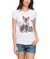 A-Lab Girls Kitty City White Tee Shirt