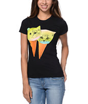 A-Lab Girls Kitty Cone Black Tee Shirt