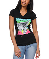 A-Lab Girls Lightning Eyes Black V-Neck Tee Shirt